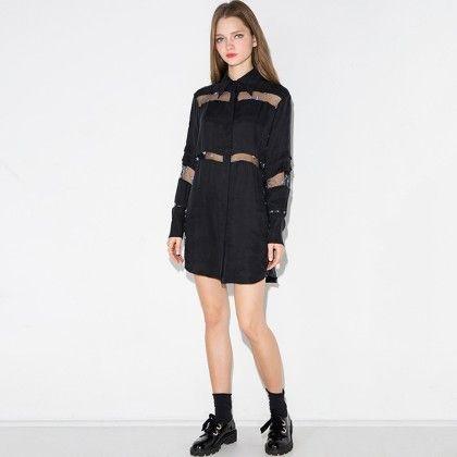 Sheer Panels Shirt Dress - HAODUOYI
