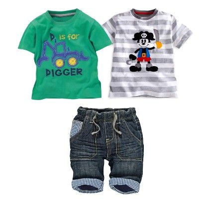 Boy's 3 Piece Green And White Printed T-shirts And Denim Set - Dapper Dudes