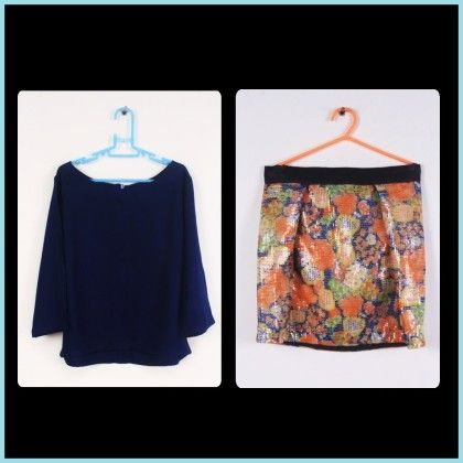 Navy Blue Top With Sequinned Skirt - Hickory Dickory