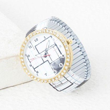 Black And White Line Bracelet Type Watch - Mirta
