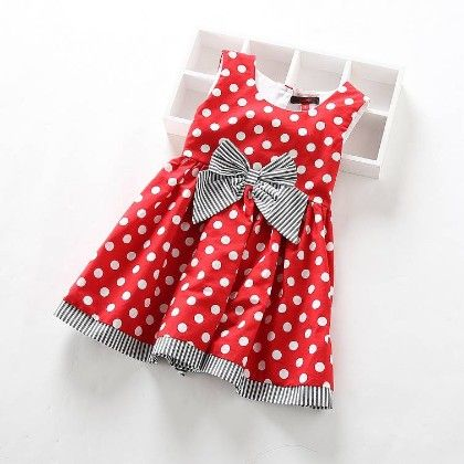 Red Polka Dot Dress With Gray Bow - Catmi