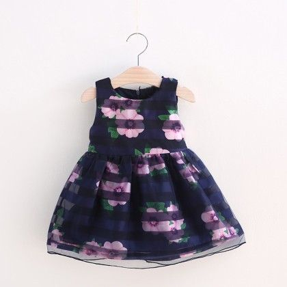 Navy Floral Print Frock - Lil Mantra