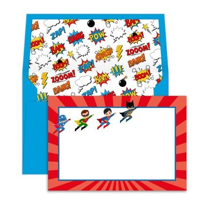 Notecards With Envelopes Superhero - Dots & Doodles