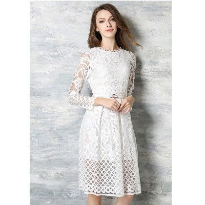 Lace Party Dress - White - STUPA FASHION