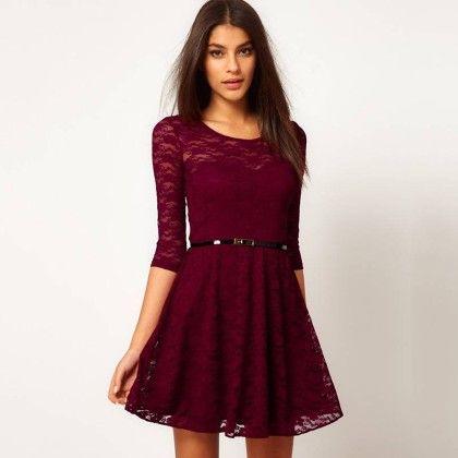 Lace Mini Dress - Wine - STUPA FASHION