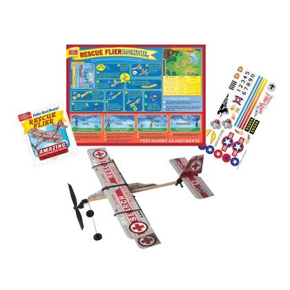 Rubber Band Powered Rescue Flier Model Plane Kit - TS Shure
