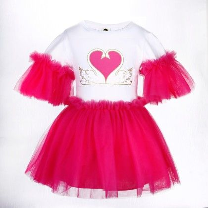 Cute White And Rose Red Heart Print Frilled Dress - Isabella By Princess