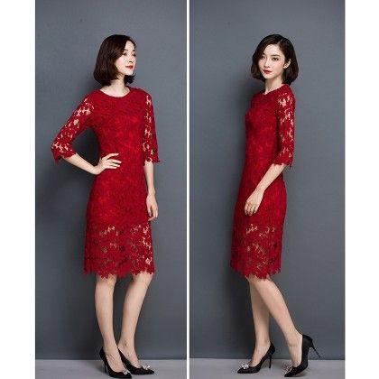 Zippers Half Lace Flowers Bodycon Midi Dress - Red - STUPA FASHION