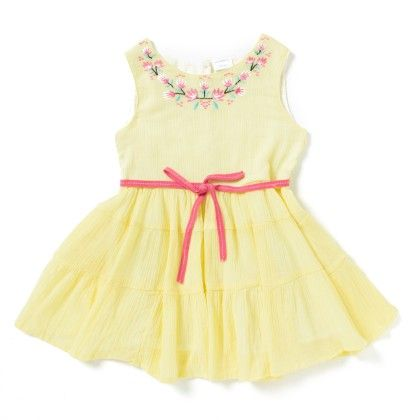 Yellow Rayon Gauze Dress With Embroidery - Sequences Clothing