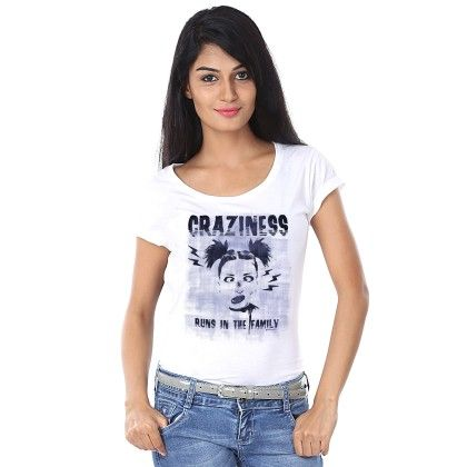 Women Craziness Print White T-shirt - BonOrganik