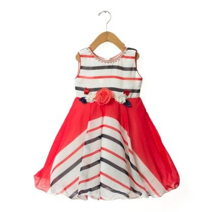 Red And Black Stripe Dress - EIORA
