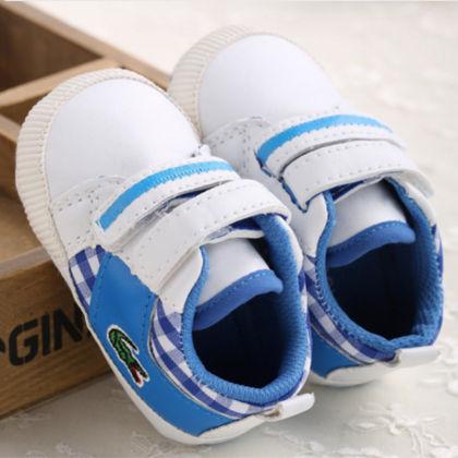 Pu Leather Crib Shoes - Sky Blue & White - Little Jack