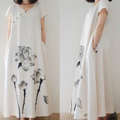 Flower Printed Summer Dress Linen Pockets - White - STUPA FASHION