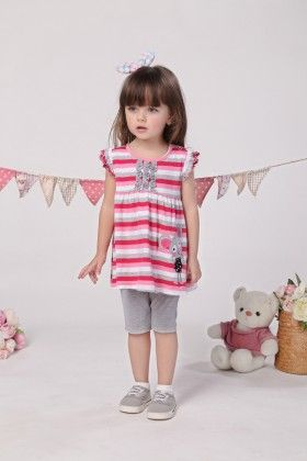 Pink Striped Top And Shorts Set - Mimiwinga