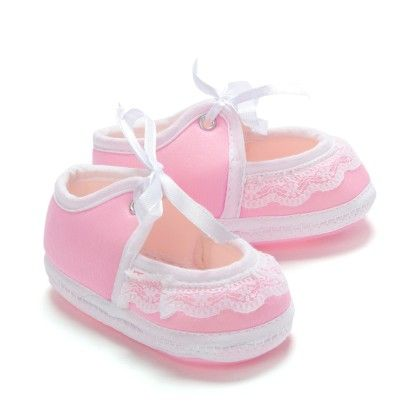 Frill And Lace Tie Up Baby Booties - Pink - Bubbles
