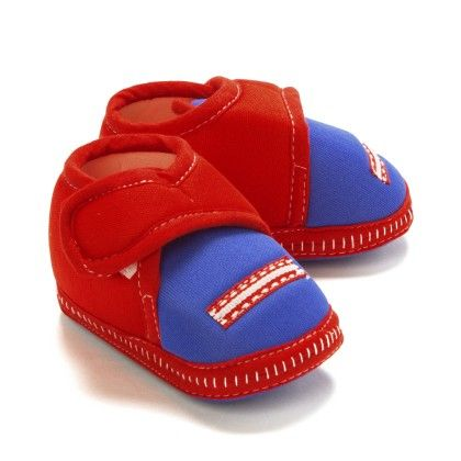 Baby Booties In Red And Navy - Bubbles