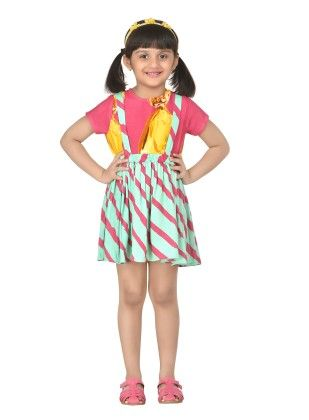 Jellybean Stripes Yellow Adorable Suspender Skirt With Top - Masaba For Magic Fairy