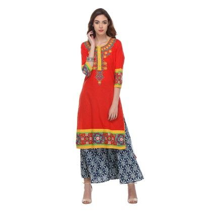 Red Color Printed Stitched Kurti - Varanga - 332296