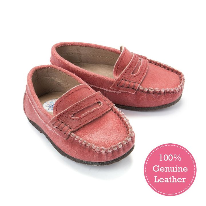 Crackle Leather Loafers For Boys - Red