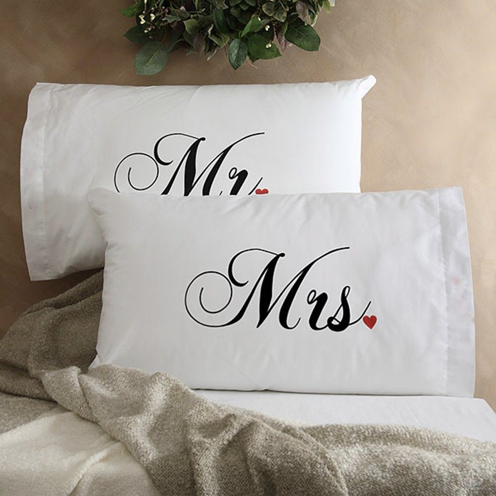 Hopscotch My Gift Booth Set Of 2 Mr Mrs Pillow Cover White