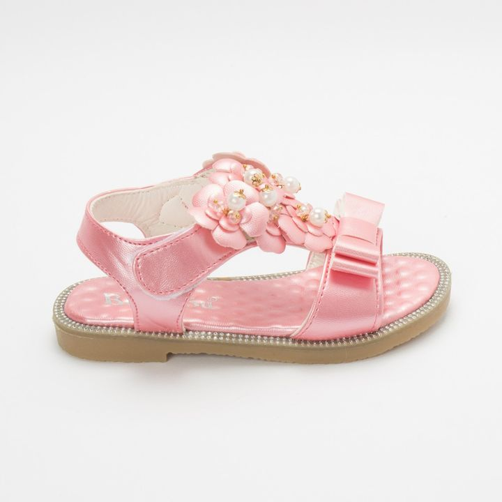 Hopscotch - Leap Frog - Party Wear Sandals Embellished With Pearls - Pink