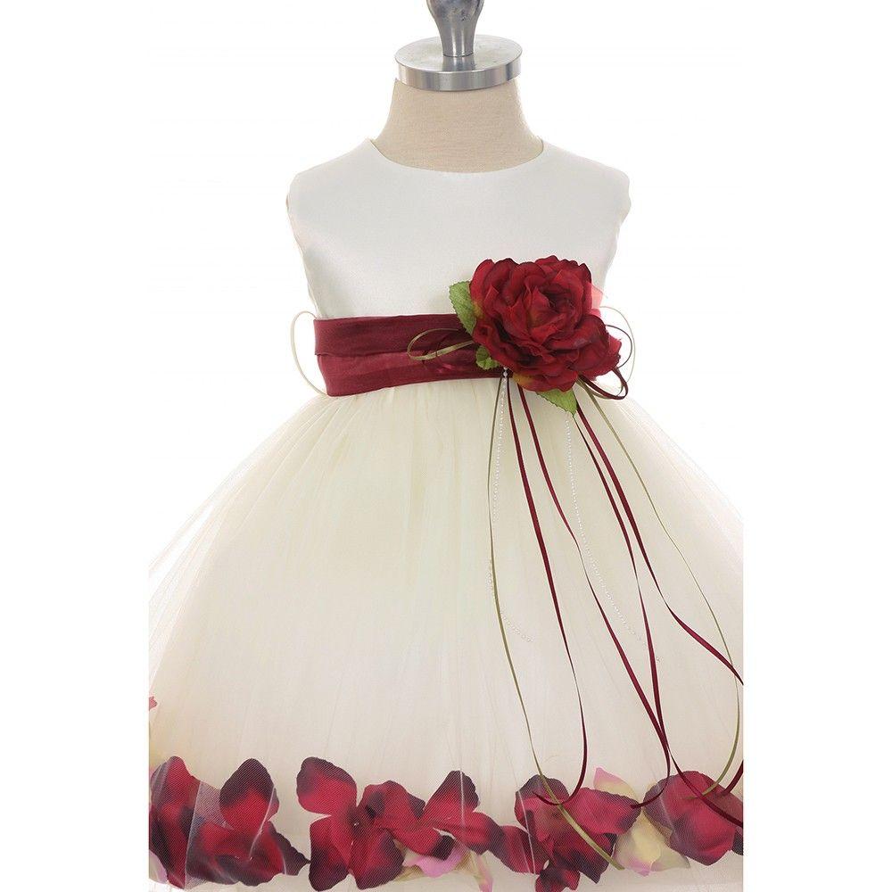 c1b9c6d4cd3 Hopscotch - Kids Dream - Satin Flower Petal Dress with Sash Red