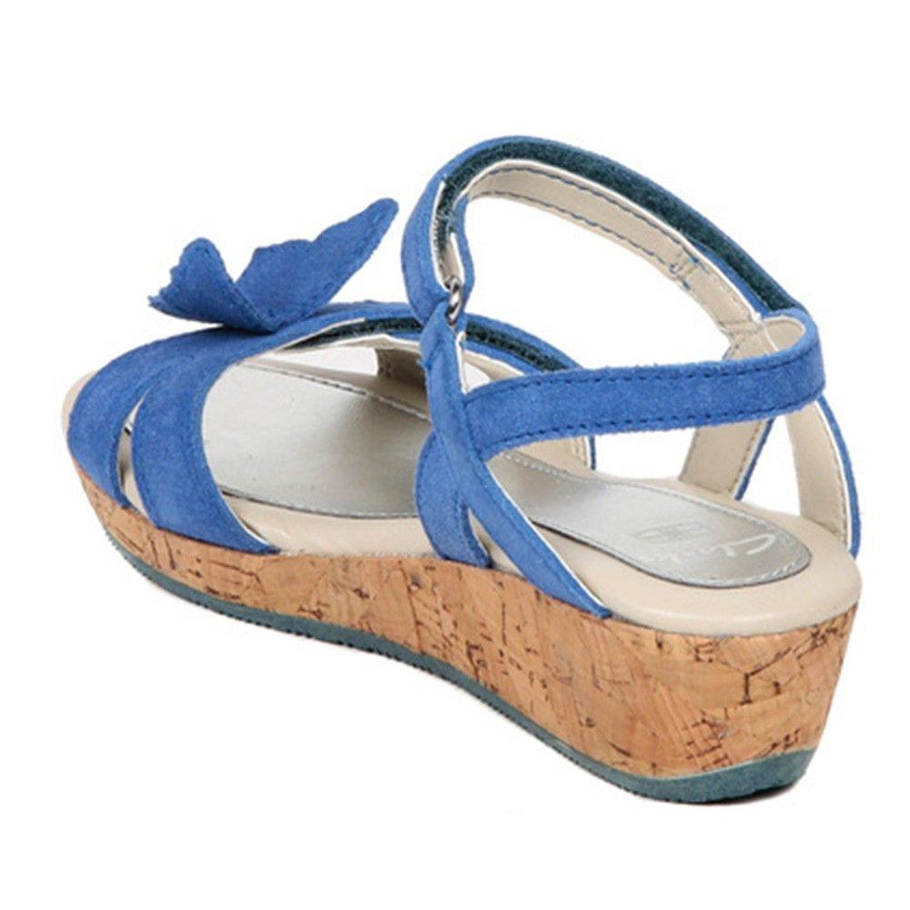 4df8fb9e17d Hopscotch - Clarks - Harpy Wings Denim Blue Leather Wedges