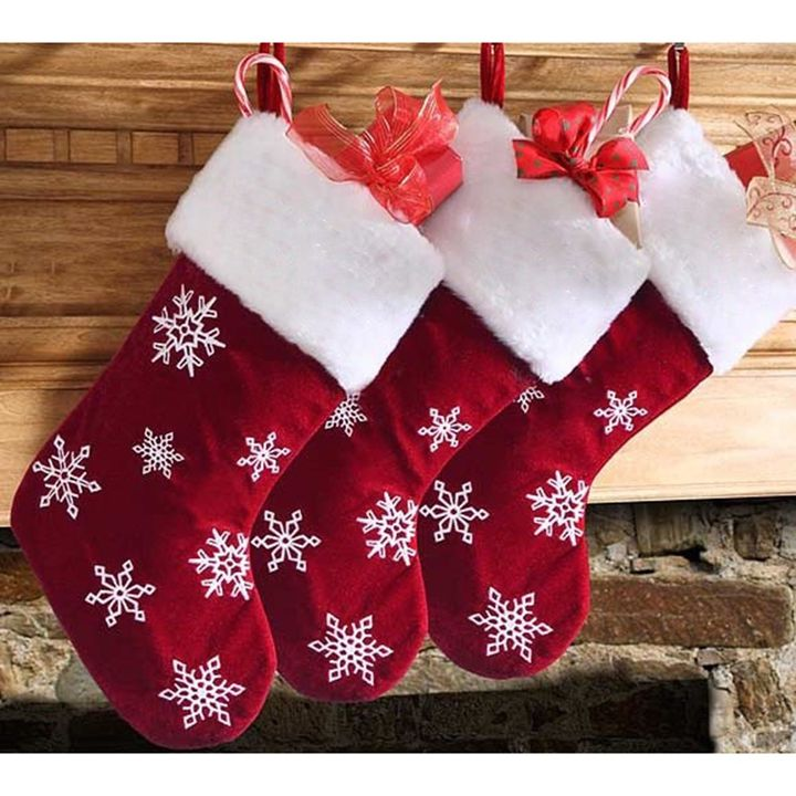 Christmas Stocking.Set Of 3 Christmas Stocking Red And White