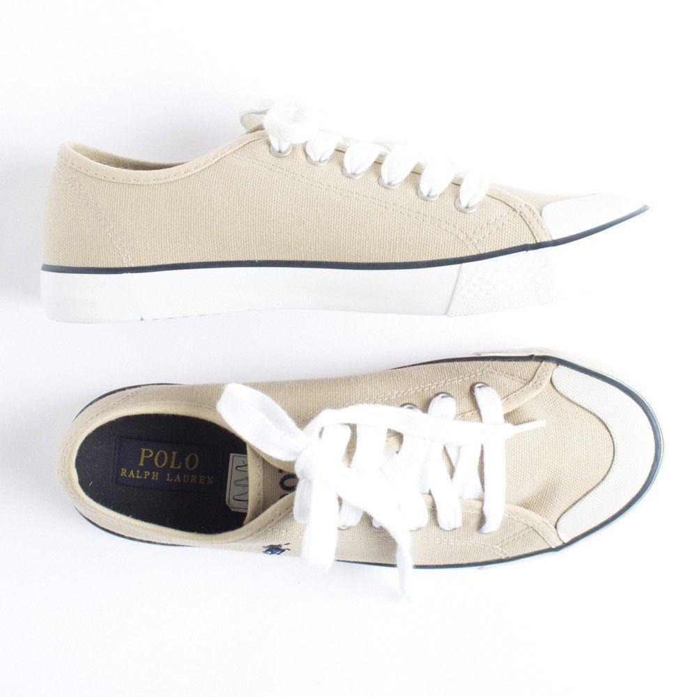 Hopscotch - Polo Ralph Lauren - Khaki Carlisle Lace Up Sneakers 2d2f7ea3f95