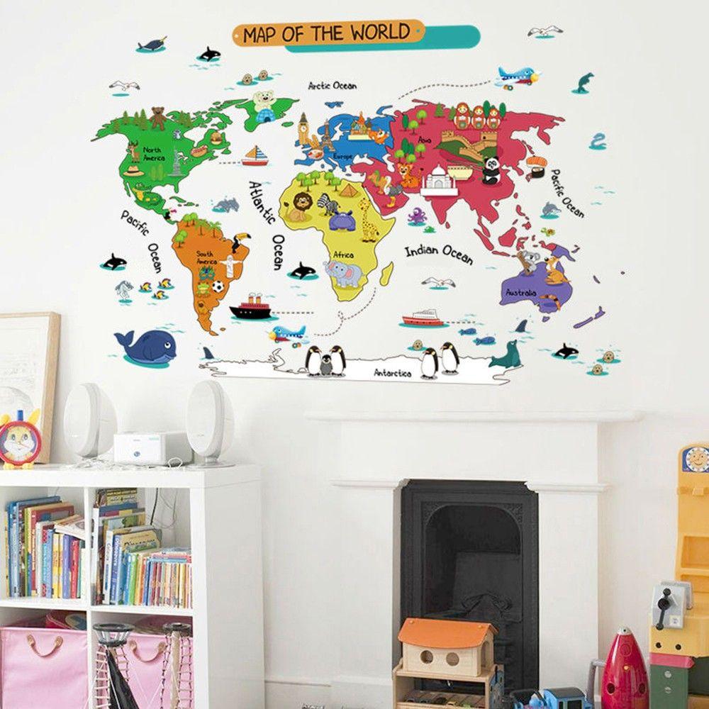 Hopscotch uberlyfe colourful world map wall sticker gumiabroncs Gallery