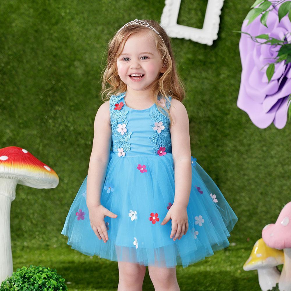 Hopscotch - Si Rosa - Cute Flowers Applique Party Dress - Blue
