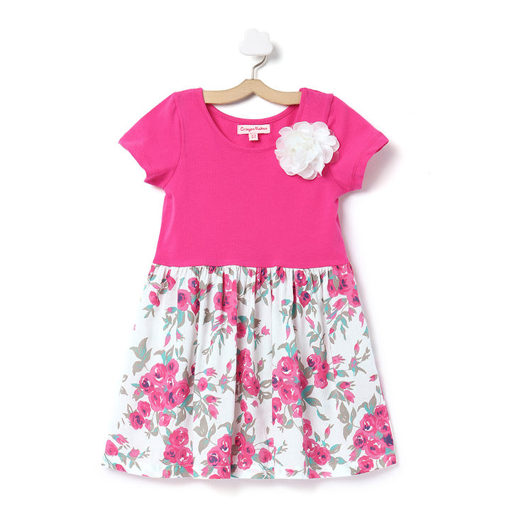 9b63c1211f5 Hopscotch - Crayon Flakes - Pink Floral Printed Dress With Beautiful White  Flower