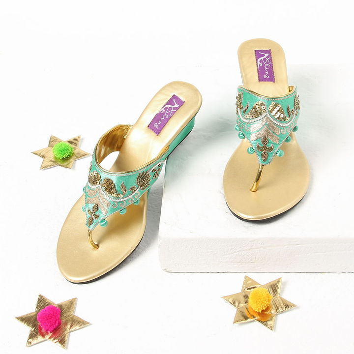4a187a9557c89 Hopscotch - Bling Footwear - Lotus Hand Work Green Wedges