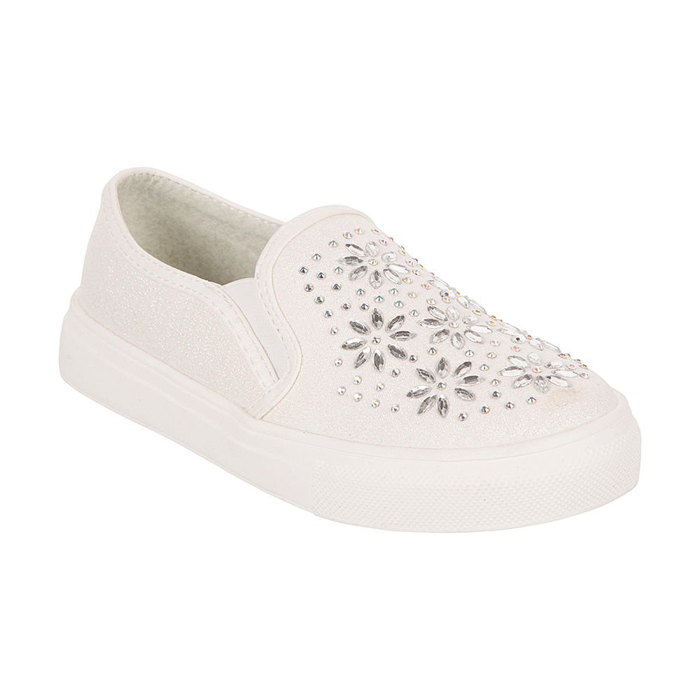 Girls Party Wear Shoes With Embroidery White