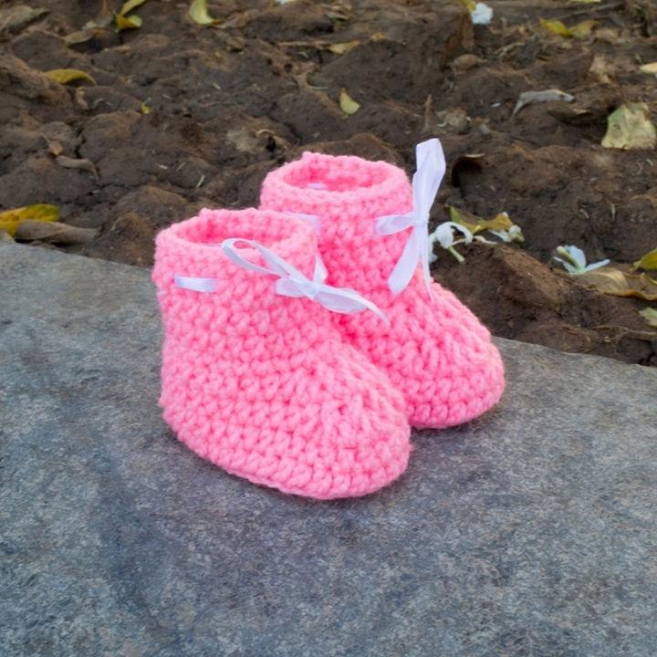 ebf18a99e29a4 Buy Crochet Baby Booties - Pink online @ ₹299 | Hopscotch