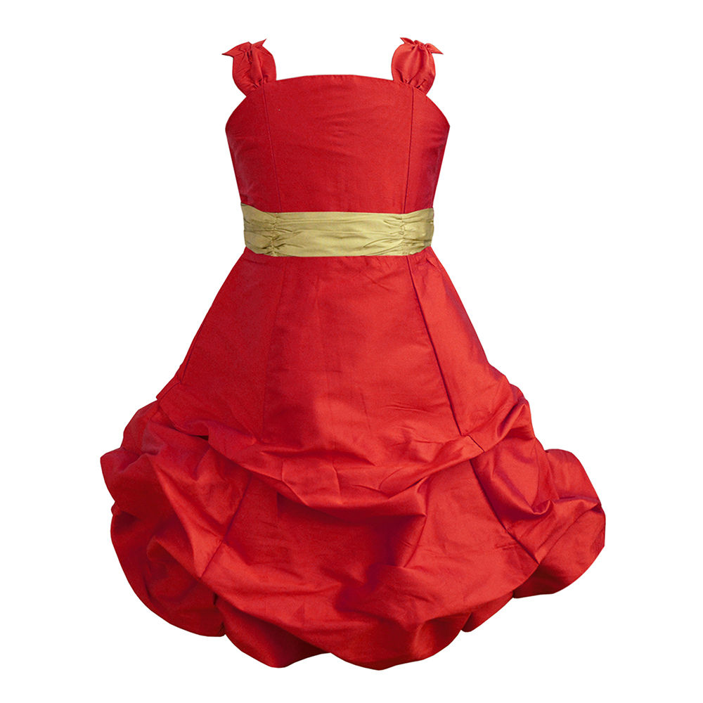 Hopscotch - A.T.U.N - Scarlet Ballroom Gown With Golden Belt