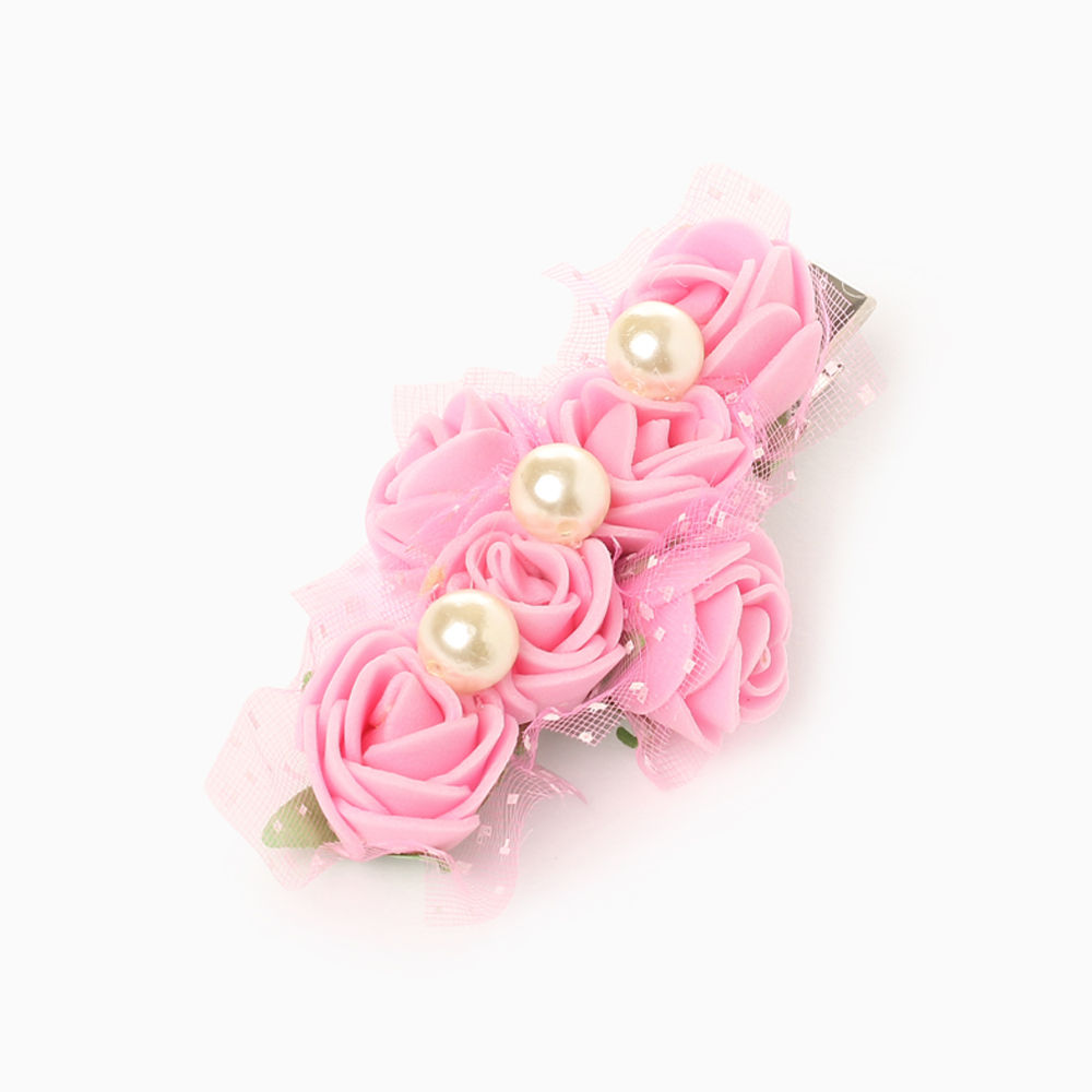 Hopscotch Sugarcart Bunch Of Pink Roses With Pearls Clip