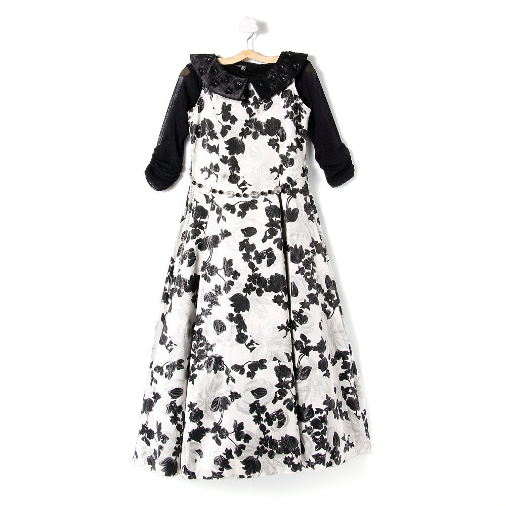 Hopscotch Tiny Baby Black And White Flower Print Long Gown With
