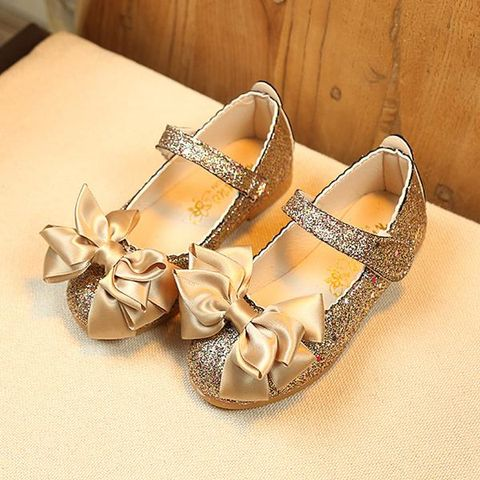 1c99547c26aa Gold Glittery Mary Jane With Satin Bow