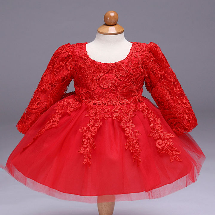 3cdcf46f69 Hopscotch - Si Rosa - Adorable Red Net Embroidered Dress