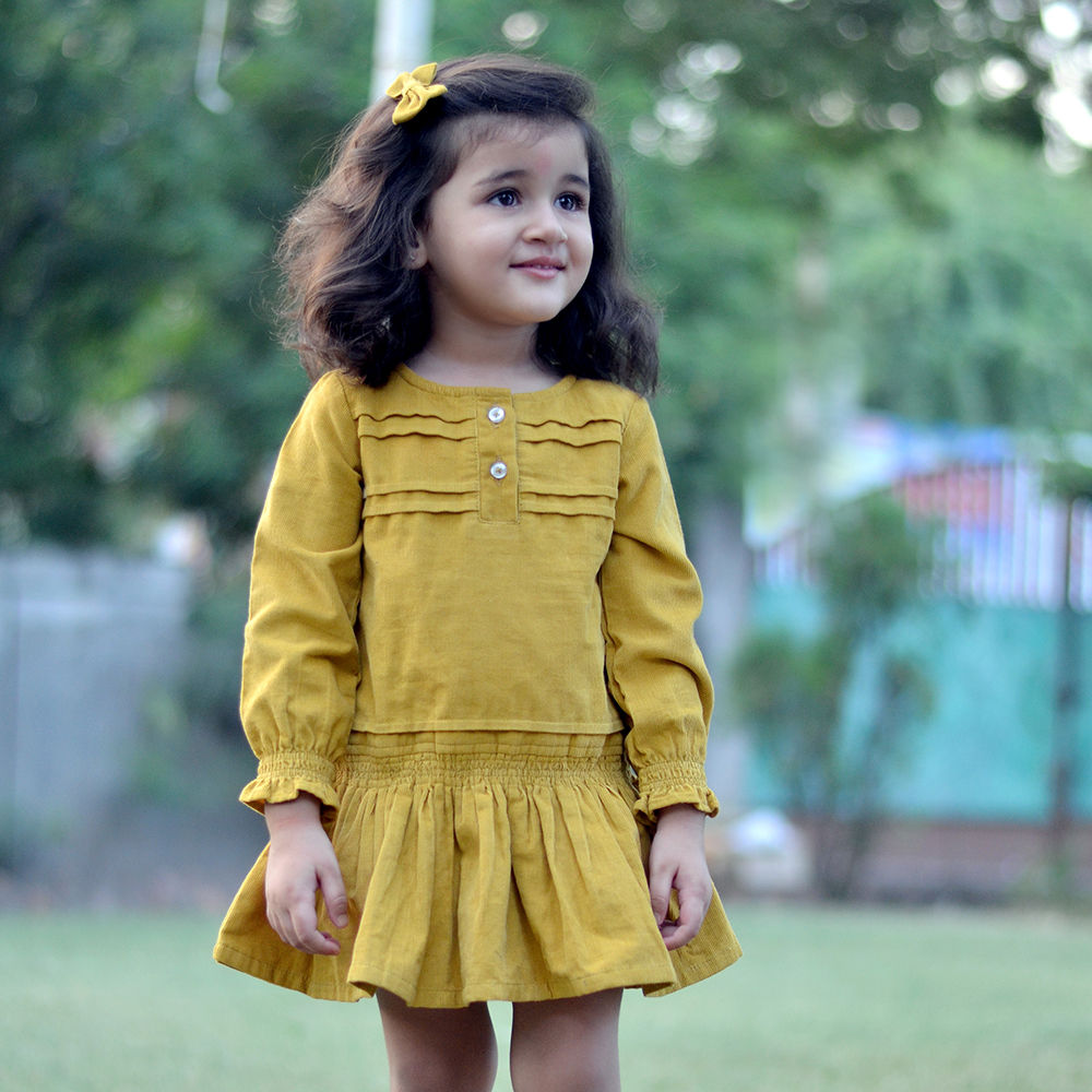 hopscotch - piccolo - cute girls dress with full sleeve yellow