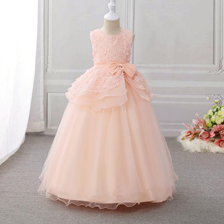 d2894366e91f Hopscotch - Si Rosa - Elegant Peach Bow Applique Gown