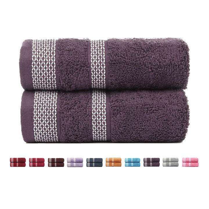 80e13a5c29 Hopscotch - Casa Copenhagen - 600 Gsm Cotton Solitaire 2 Pieces Hand Towel  Set - Italian Plum