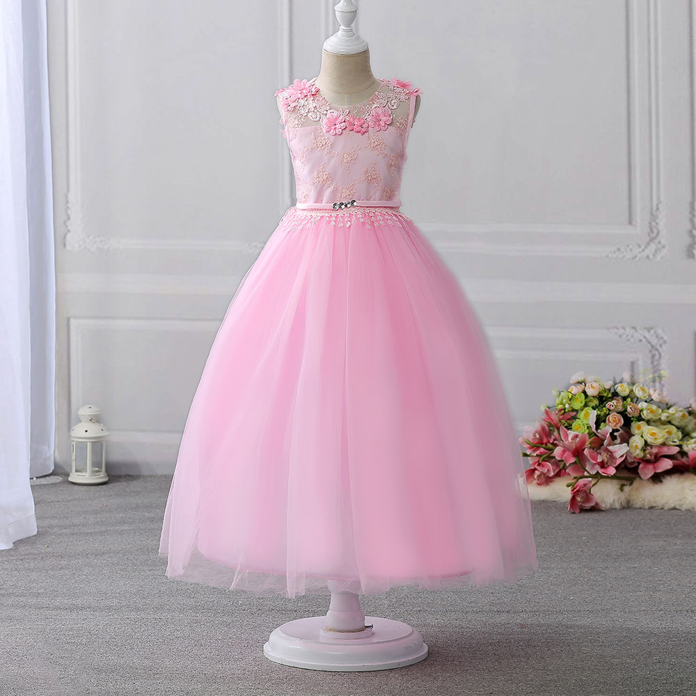 Hopscotch - Si Rosa - Charming Pink Embroidered Sleeveless Party Dress