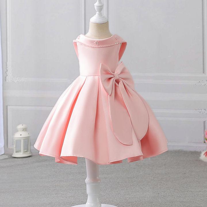 2970cc08069 Hopscotch - Si Rosa - Charming Pink Bow Applique Party Dress