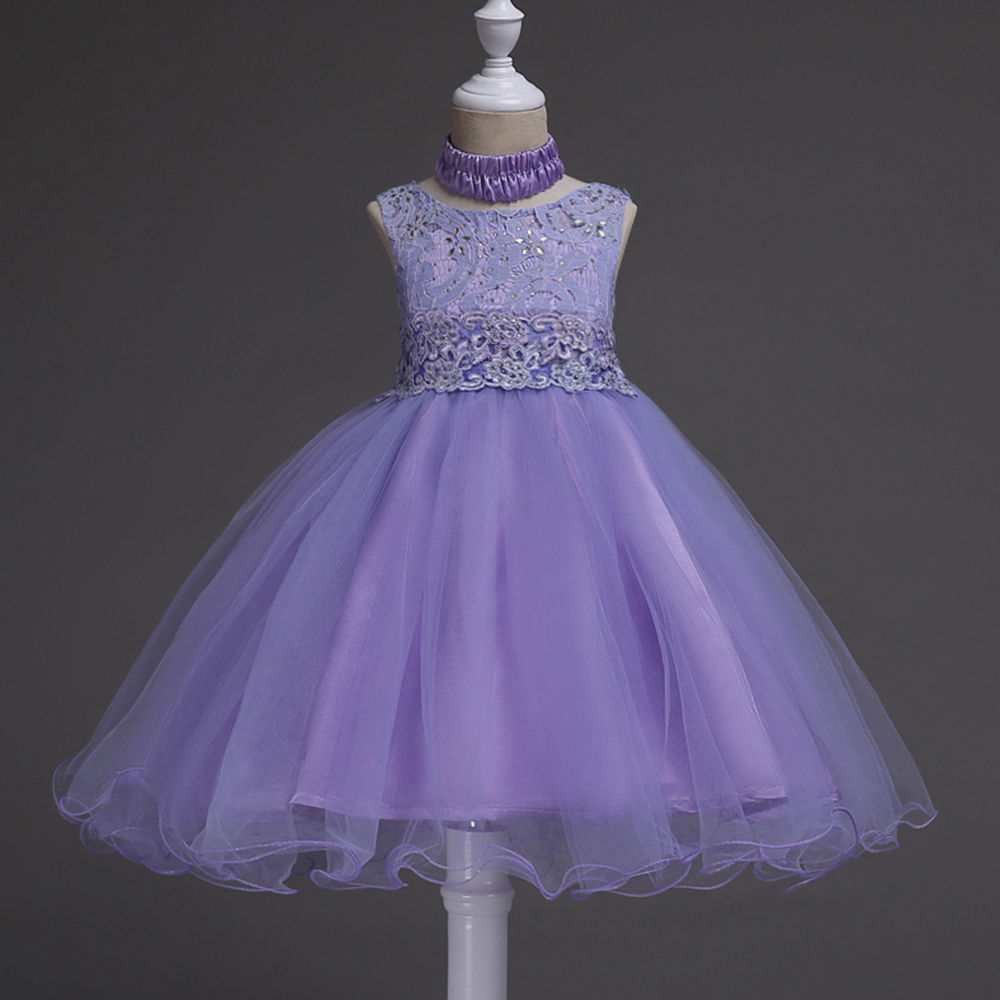 Hopscotch - Si Rosa - Adorable Purple Embroidered Sleeveless Party Dress