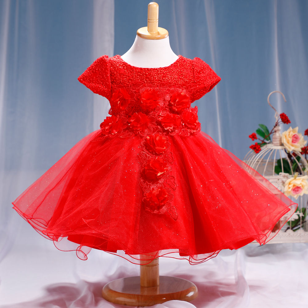 Hopscotch - Si Rosa - Beautiful Red Applique Party Dress