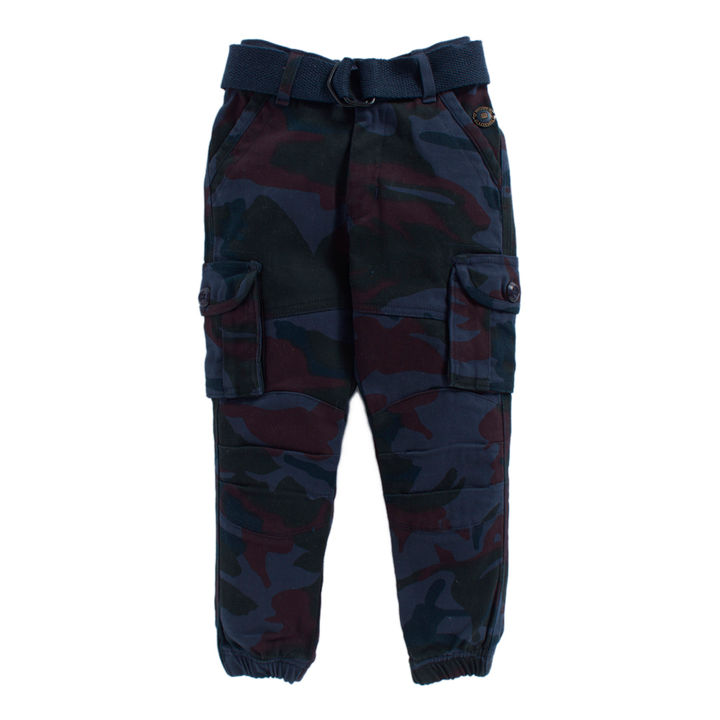 Navy Camouflage Jogger With Belt