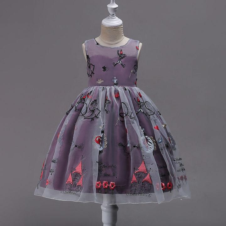 bb14be74a12db7 Hopscotch - Si Rosa - Cute Purple Applique Sleeveless Party Dress