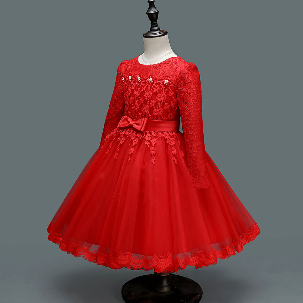 Hopscotch - Si Rosa - Beautiful Red Full Sleeve Party Dress